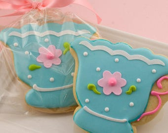 Teacup Cookies, Tea Party, Tea Pot - 15 Decorated Sugar Cookie Favors