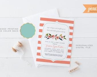 BABY SHOWER invitation | sugar and spice and everything nice | baby girl | coral | mint | floral | stripe | personalized | print at home