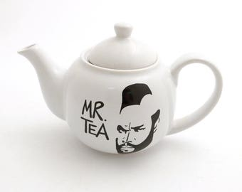 Mr. Tea small teapot with metal strainer, personal teapot, funny teapot, gift for tea drinker, gifts under 25