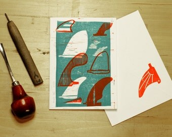 Block Printed Limited Edition Surf Fin Greeting Card - Hand carved and hand printed by Jason May