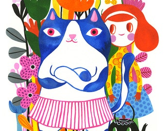 Kitty Gang... - limited edition giclee print of an original gouache/watercolor illustration (8 x 10 in)
