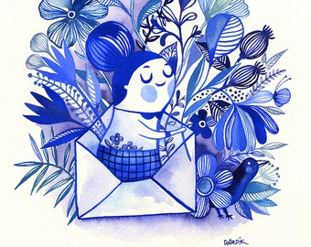 Sending Love... - limited edition giclee print of an original watercolor illustration (8 x 10 in)