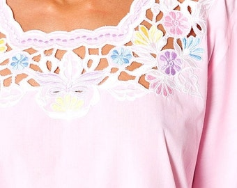 30% off SPRING SALE The Pastel Pink Cut Out Floral Ethnic Tunic Blouse