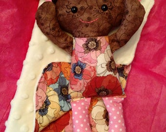 Calico Rag doll Baby with Doll Blanket