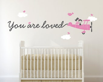 You are Loved Airplane Wall Decal Travel Theme Nursery Kids Airplane Theme Room Boy or Girl Pilot