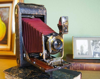 No. 3-A Folding Pocket Kodak Camera Model B-4 -Red Bellows