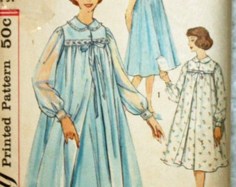 Vintage 1950s Sewing Pattern, Simplicity 2777, Misses' Nightgown and Robe, Sleepwear, Misses' Size 14, Bust 34 Inches, UNCUT, FF