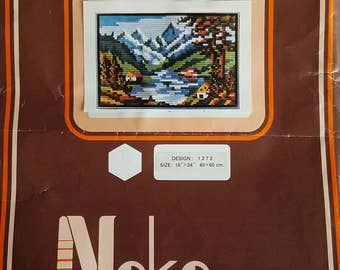 Vintage Nako Needlecraft Vertical Stitch Kit - Mountain Scene