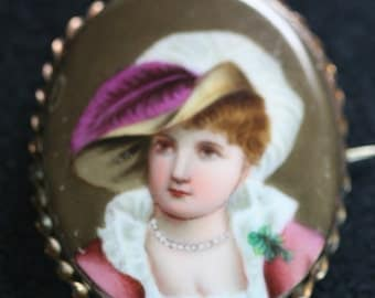Antique  Portrait Brooch - Hand Painted Ceramic