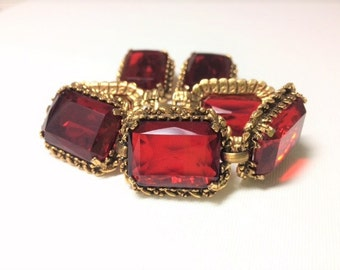 Vintage Kramer Ruby Red Bracelet and Earrings
