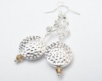 Round Silver Charm Dangle Earrings