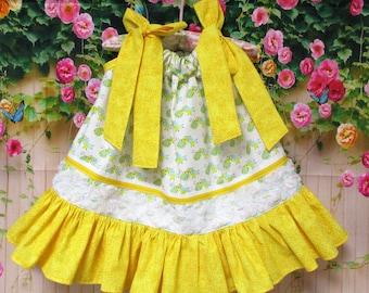 Girls 12M/18M Dress, Yellow Green Bugs Baby Pillowcase Dress, Pillow Case Dress, Sundress, Boutique Dress