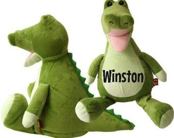 Personalized Crocodile, Personailized Stuffed Animal, Green Gator Crocodile, Embroidery Birth Block Stats
