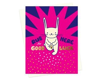 Lucky Rabbit - Foil-Stamped Card - Good Luck Card - Lucky Rabbit's Foot - Folded Card - OC1540