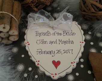 Bride's Parents, Personlalized Ornament, Wedding, wedding party gift,