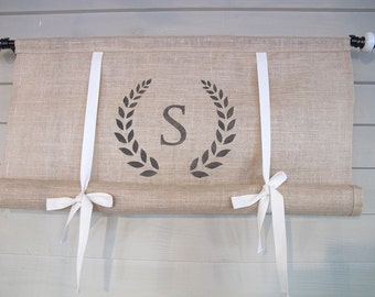 Natural Burlap Monogram 48 Inch Long Swedish Roll Up Window Shade Stage Coach Blind Tie Up Curtain Swag Balloon