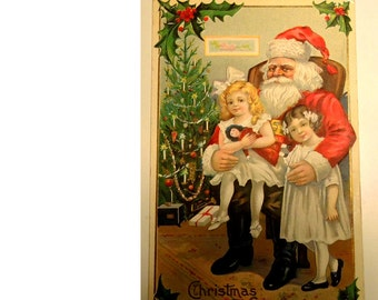 Antique Santa Post Card - Vintage Christmas Postcard -FREE Shipping In USA