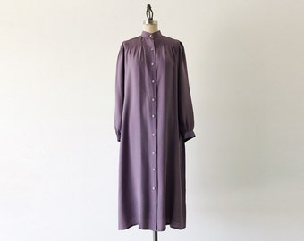 Vintage 1970s Stanley Sherman Lavender Silk Long Sleeve Midi Dress - S