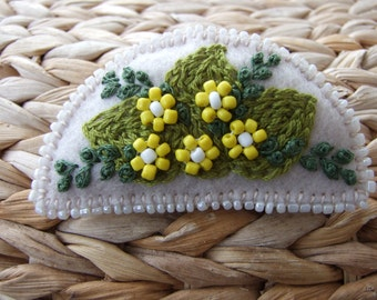Pale Beige Felt Pin  with Hand Embroidered Leaves and Beaded Flowers