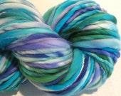 Bulky Handspun Yarn  Mountain Time 124 yards hand dyed wool purple green blue yarn waldorf doll hair knitting supplies crochet supplies
