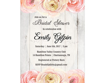 Personalized Wedding Bridal Shower Invitations and Envelopes One Dozen Printed with Peach Flowers on Wood NVB005