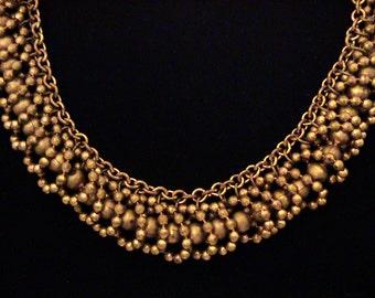 Vintage ART DECO Unique Brass Ball Bead Collar Necklace