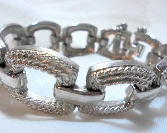 Sparkling Vintage Link Bracelet by Monet with Safety Chain