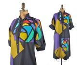 80s Catherine Ogust dress / black stained glass geometric print dress / 1980s dress .. XS / SM