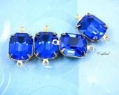 Preciosa Capri Blue 12x10mm Vintage Glass Octagon Stones Brass Prong Settings - 2