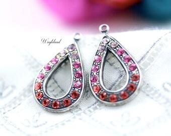 Light Amethyst Rose Pink Padparadscha Teardrop Swarovski Rhinestone Earring Dangles Drops Findings Silver Filled - 2