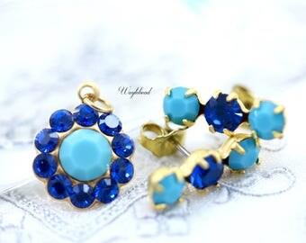 Triple Rhinestone Earring Studs Swarovski Crystal Ear Posts Set Stones Charm Pendant - Turquoise Blue & Capri Blue