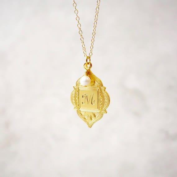 Personlised monogram gold pendant monogram necklace personlised monogram gold pendant monogram necklace personalised initial necklace monogram monogram jewellery gold monogram initial mozeypictures Image collections