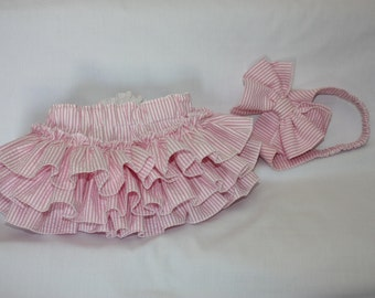 Pink Seersucker ruffle bloomers with head band with bow  ruffle sassy panty
