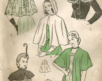Vintage 40s Butterick 4570 Misses Capes, Capelets and Wrap Stole Sewing Pattern Size Med Bust 36-38