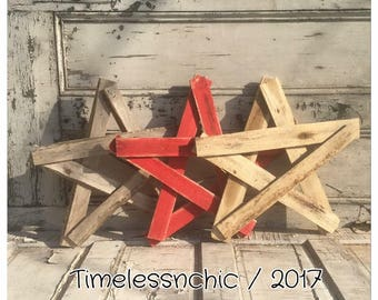 Red Star - White Star - Wood Star - Wooden Star - Rustic Star Decor - Americana Decor - Star Decor - Large Wooden Star - Reclaimed Wood -