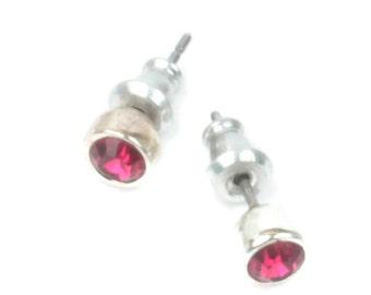 Garnet Crystal Stud Earrings Petite Size Vintage