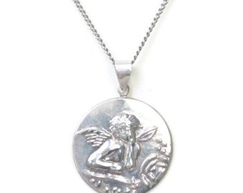 Sterling Cherub Cupid Angel Pendant Necklace Silver Tone Chain Vintage