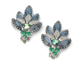 Blue Green AB Rhinestone Earrings Silver Leaves Vintage