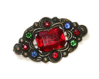 Czech Rhinestone Pin Multi Color Red Green Blue Stones Vintage