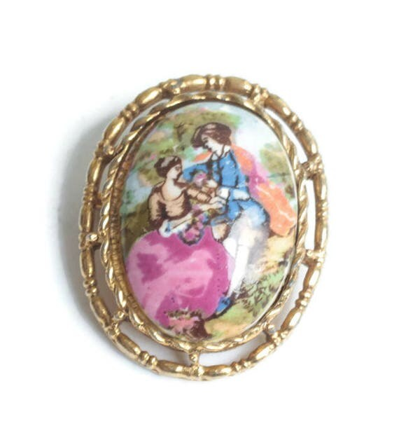 Courting Couple Romantic Lovers Brooch Pendant Porcelain Transfer Vintage
