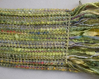 """Handwoven Hand-dyed Ribbon Scarf with long fringe - Lime/Navy/Orange - 70""""x 5.5"""""""