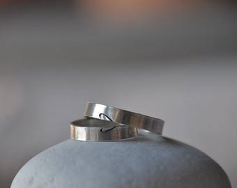 Heart Silver Wedding Bands, 1.2mm thickness, two half heart rings, engagement, anniversary,wedding, friendship.