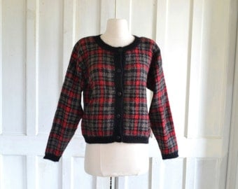 80s Mohair Cardigan Sweater Checkered Plaid Oversized Cropped Sweater