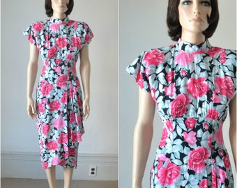 80s Dress with Sarong Skirt  - Rose Floral Print - 80s does 40s - Small
