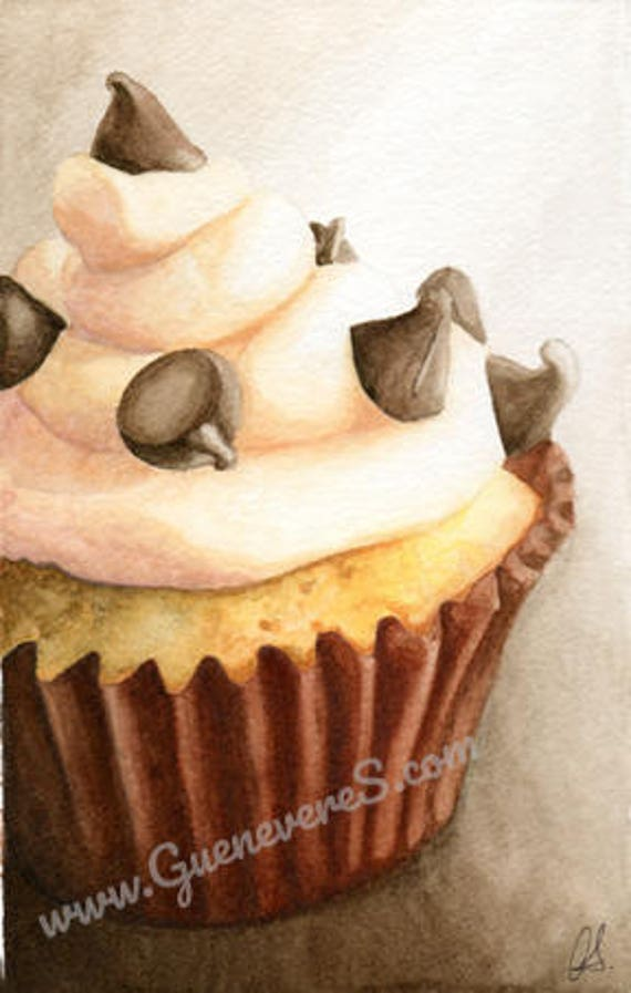 Pink Chip Cupcake watercolor original painting