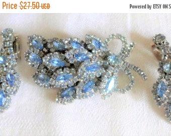 sale 15% Beautiful Brooch Earrings Baby Blue Rhinestones Silver Sparkle Unsigned