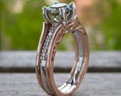 Teal Montana Sapphire Engagement Ring with Diamonds in 14K White Gold and Wedding Band Wrap in 14K Rose Gold Size 8 - RESERVED for Eli