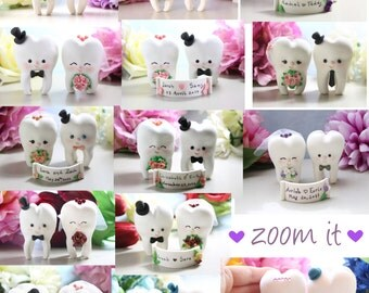 Molar Teeth wedding cake toppers - dentist bride groom dental hygienist odontologist oral surgeon funny cute figurines personalized names