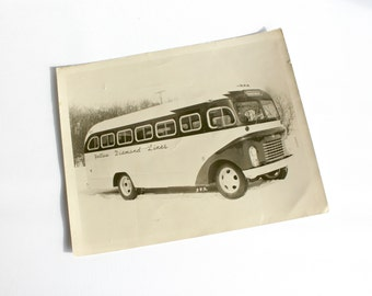 Vintage Bus Photograph Yellow Diamond Lines Nebraska Original 8x10 Mid Century Automotive Transportation Home Wall Decor
