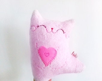 Pink stuffed cat with heart doll plush softie cute stuffed animal Christmas gift for kids toddler cat lady kitty dancing